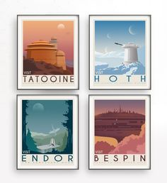 Star Wars set of 4 travel poster vintage. Starwars planet illustration. Sci fi vintage print. Luke skywalker. Two mon landscape. Room decor. Return of the jedi. Trilogy film. Movie poster. Rogue one  Inspired Star Wars movie. This design is suitable for office or your home. It is also a good idea for anniversaries, birthday, christmas or any other special occasion.  The download includes for 16 high resolution files (2 JPG and 2 PDF) in 2 different sizes: A2 (40x50cm) and 16x20 so that you…