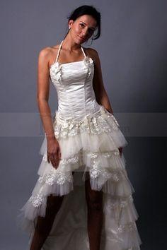 Tiered Tail Hem Wedding Dress