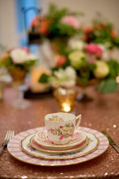 Unique sets of china at each place setting will wow your guests, and the mismatched patterns add a ton of character to your wedding reception tables. Party Things, Wedding Place Settings, Wedding Reception Tables, Lush Garden, Wedding Shoot, Tablescapes, Perfect Wedding, Party Time, Tea Party