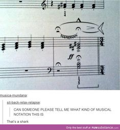 Something Fishy Going On… I can't actually read sheet music - it's still funny though Funny Quotes, Funny Memes, Hilarious, Song Quotes, Life Quotes, Music Jokes, Funny Music, Band Jokes, Band Nerd