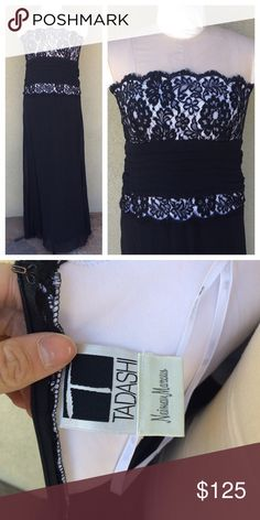 "Tadashi Shoji strapless lace gown Stunning black and white Tadashi strapless gown. Back zipper. Lined. Black and flowy, white upper with. Lack lace overlay. So pretty and good condition. The size and fabric/care tag is no longer attached. Fits a size M best, the dress form in the photo is an 8/10 and it fits it good. Sorry I don't model. Flowy silk chiffon over layer. Length  53"". Pit to pit 17.5"" waist flat across 14"". Tadashi Shoji Dresses Prom"