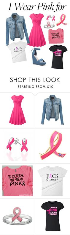 """""""I wear pink for"""" by maydaisy13 ❤ liked on Polyvore featuring LE3NO, Bling Jewelry, Estée Lauder and Stacks and Stones"""