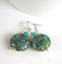 Boro glass earrings, Swarovski crystal, green, blue, sterling silver, gift on Etsy, $52.00