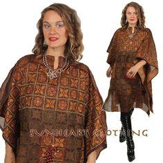 Sunheart Vintage Silk Poncho Top
