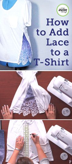 To make this funny upcycle of adding lace to a shirt, you need - upcycling kleidung - İdeen Techniques Couture, Sewing Techniques, Diy Clothing, Sewing Clothes, Remake Clothes, Umgestaltete Shirts, Lace Shirts, Sewing Circles, Diy Couture