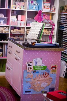 pretty pink craft room