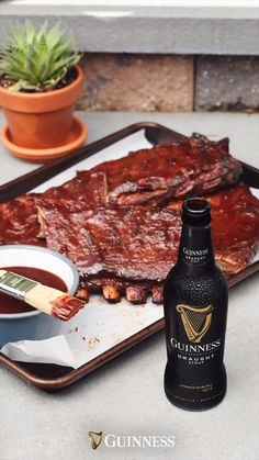 Get your summertime mood-board ready—this tasty BBQ sauce made with Guinness Draught is your new favorite summer recipe for all of your backyard ideas. We're sure it will be your go-to for ribs, chicken skewers and just about any other food you plan on grilling. Recipe courtesy of Over the Fire Good Food, Yummy Food, Tasty, Baby Food Recipes, Cooking Recipes, Cooking Bacon, Food Baby, Snacks Recipes, Dinner Recipes