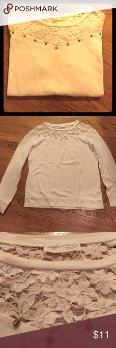Zara white lace long sleeve shirt Super cute lace top with gold bedazzles springing the lace. This long sleeve shirt is perfect for fall Zara Tops Tees - Long Sleeve