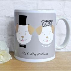 Personalised Wedding Mug enter text for married names on front of mug eg. Mr & Mrs Williams Text for names and date on reverse of mug Wedding Mugs, Wedding Couples, Personalized Mugs, Personalized Wedding Gifts, Christian Names, Christen, Dog Design, Special Day, How To Memorize Things