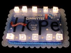 """Relay for Life Cake with """"Luminaria"""". American Cancer Society event."""