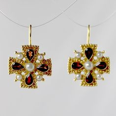 Isabella of Castille Garnet Earrings - this courtly inspired design would have suited Queen of Spain, Columbus's benefactor. Hand-cut and cultured in a gold over sterling silver shaped setting. European backs. Cute Jewelry, Body Jewelry, Jewelry Art, Antique Jewelry, Vintage Jewelry, Jewelry Design, Women Jewelry, Fashion Jewelry, Jewelry Ideas