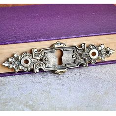 vintage  brass escutcheon...   key hole plate... by CoolVintage
