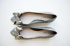 Miu Miu glitter flats, wedding shoes // stylemepretty