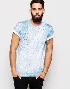 Shop River Island T-Shirt with Splatter Print at ASOS. T Shirt Vest, Sweater Shirt, Shirt Print Design, Shirt Designs, Tye Dye, Festival T-shirts, River Island Shirts, Denim Tees, Printed Shirts