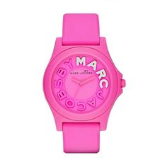 Marc by Marc Jacobs Sloane Strap 40MM (1.470.525 IDR) ❤ liked on Polyvore featuring jewelry, watches, dial watches, sporty watches, silicone strap watches, marc by marc jacobs watches and pink jewelry