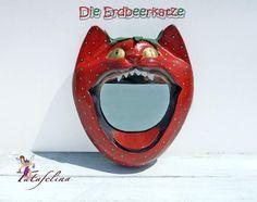 Katzenspiegel 'Erdbeer - Katze', UNIKAT  von Fatafelina auf DaWanda.com