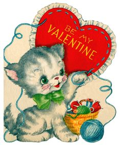 Vintage Valentine Card kitten yarn