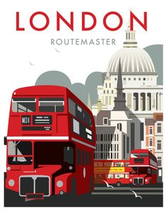 Vintage Poster Giclee Print: London Routemaster - Dave Thompson Contemporary Travel Print by Dave Thompson : - Framed Art Prints, Poster Prints, London Poster, Routemaster, Photo Vintage, Vintage Pink, Kunst Poster, London Bus, London City