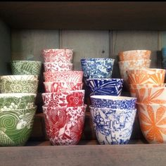 We love Samantha Robinson, porcelain tea cups at Table Culture, each one unique