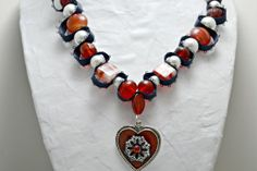 Dark red heart necklace with navy ribbon and by AlyxAndreaDesign, $22.00