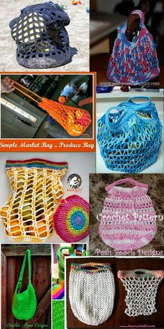 Posh Pooch Designs Dog Clothes: Tuesday Treasury - Cotton Shopping bags Crochet Patterns.  Cotton Reusable Grocery bags are the sustainable choice!