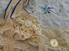 Scarf Womans Lace vintage Collage Romantic Adora by bessiee, $62.00
