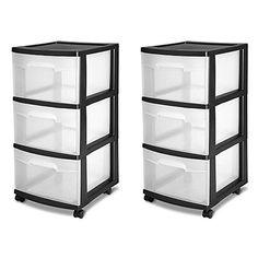 Sterilite 3 Drawer Storage Cart Plastic Black (Case of 2)