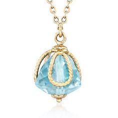 Simple to wear, but bold in presence: this pendant necklace holds a 5.00 carat triangular aquamarine in 14kt gold cagework. Suspends from a cable chain with a lobster clasp. 14kt yellow gold pendant necklace. Free shipping & easy 30-day returns. Fabulous jewelry. Great prices. Since 1952.