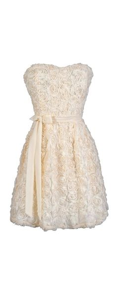Every Rose Strapless Dimensional Rosette Dress in Ivory  www.lilyboutique.com