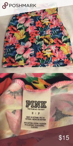 PINK Victoria's Secret Skirt Selling this beautiful colorful skirt, perfect for summer time. Wore probably twice so it's still in pretty good conditions. Size S. I'm 5'5 and it fits me right above my knees. Stretchy material PINK Victoria's Secret Skirts Mini
