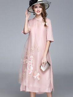 Shop Ethnic Stand Collar Half Sleeve Shift Dress at EZPOPSY. Cheap Maxi Dresses, Day Dresses, Dresses Online, Summer Dresses, Formal Dresses, Shift Dresses, Long Dresses, Wedding Dresses, Mother Of The Bride Fashion