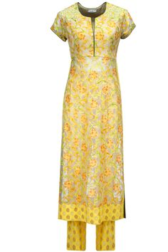 Yellow hand painted embroidered kurta set available only at Pernia's Pop-Up Shop.