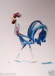Original Art Signed Painting Acrylic on Paper - Chicken (Kolman Art)