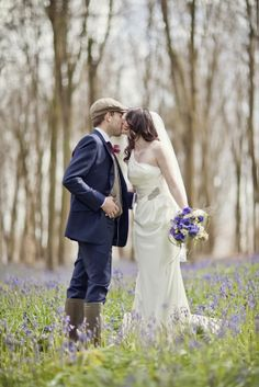 Beautiful photo in a bluebell wood - so romantic My Wedding Daisy Wedding, Pink Wedding Dresses, Wedding Dresses Photos, Wedding Bells, Wedding Card, Lace Wedding, Dream Wedding, Romantic Wedding Receptions, Romantic Weddings