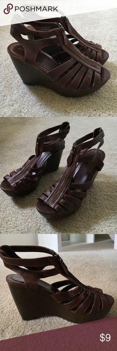 Dark Brown Wedge Sandals size 7 1/2 Sandals are from Target Xhilaration Brand. Worn a few times but a little big for me. Xhilaration Shoes Wedges