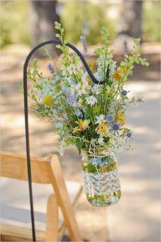 hanging mason jar floral decor
