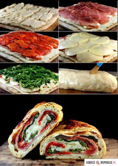 Three Cheese Broccoli, Prosciutto and Roasted Red Pepper Stromboli. Give me three cheese anything and I'm anybody's. Tasty, Yummy Food, Yummy Lunch, Wrap Sandwiches, Baked Sandwiches, Grilled Sandwich, I Love Food, Food For Thought, Food To Make