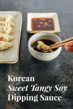 Korean Sweet Tangy Soy Dipping Sauce Recipe - Pair it with your next Korean pancakes or Korean dumplings | MyKoreanKitchen.com