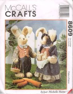 """8609 Sewing Pattern Fabric Stuffed Bunny Rabbit w Clothes Michelle Hains 18"""" click picture to enlarge click picture to enlarge Thank you for coming in! Please look around my store while you are here a"""