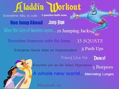 http://thegirlincendio.tumblr.com/post/76401222993/magicallyalexa-want-to-get-in-shape-but-in-the  Disney movie workouts for Aladdin, Frozen, Finding Nemo, The Incredibles, Lion King 1&2, Mulan, Princess and the Frog, and Tangled