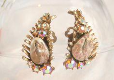 Vintage HAR Dragon Tooth Earrings AB Rhinestones Art Glass.