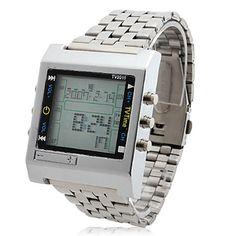 liga dos homens relógio digital de pulso automático com função de controle remoto (prata) – BRL R$ 28,29
