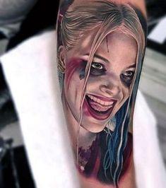 Harley Quinn Tattoo, Tatuaje Harley Quinn, Joker Und Harley Quinn, Harley Tattoos, Dc Tattoo, Batman Tattoo, Ink Tattoos, Tattos, Harey Quinn