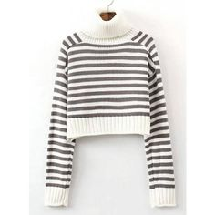 Yoins Yoins Stripe Knitted Crop Jumper ($23) ❤ liked on Polyvore featuring tops, sweaters, brown, shirts & tops, long sleeve crop top, white striped shirt, long sleeve shirts, long sleeve sweaters et brown sweater
