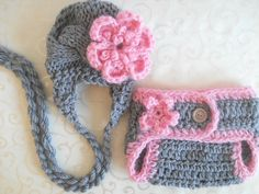 Baby Hat and Diaper Cover Set, Crochet Diaper Cover and Hat Set, Baby Girl Hat and Diaper Cover, Newborn Diaper Cover and Hat. $29.00, via Etsy.