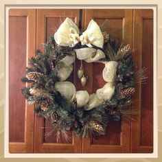 Garland pinecone wreath with Gold Ribbon by WhimsicalClassics, $90.00