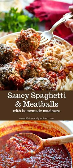 Saucy Spaghetti and Meatballs | These Italian meatballs are delicious and extremely tender, and although they take a little time to prep, they are very easy...just mix, shape, and bake! #meatballs #marinara via @sheilathigpen