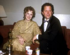 Meryl Streep and Don Gummer backstage at the 1983 Oscars after she won best actress for Sophie's Choice