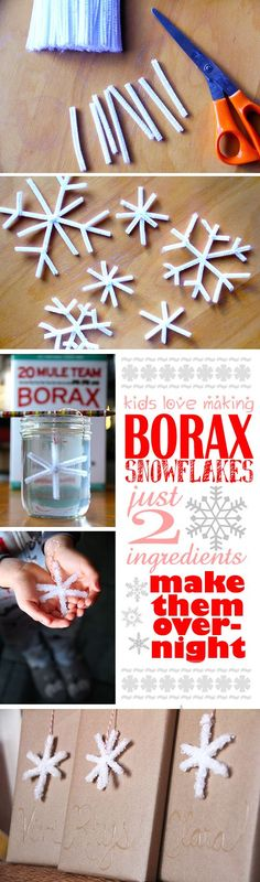 Easy Borax snowflakes. Perfect advent calendar craft for kids. Awesome as ornaments or gift tags. #Christmas #snowflakes #winter #craft #BlogHerHolidays