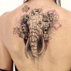 Cool Elephant Back Tattoo - Best Elephant Tattoos: Cute Elephant Tattoo Designs and Cool Ideas Puzzle Tattoos, Hand Tattoos, Mom Tattoos, Trendy Tattoos, Body Art Tattoos, Sleeve Tattoos, Tattoos For Women, Cute Elephant Tattoo, Elephant Tattoo Design